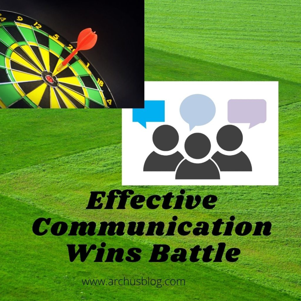 Alt= 3 persons image and emojis on head showing the communication. a pin board represents the winning battle.